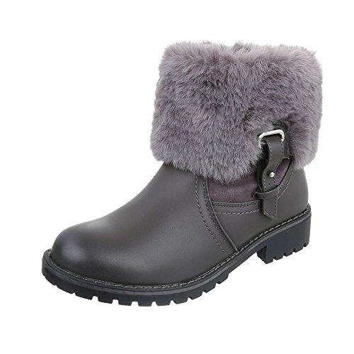 Stivaletti Classici Scarpe Da Donna Slip-on Boots Tacco Largo Caldo-imbottito Ital-design Stivaletti Grigio