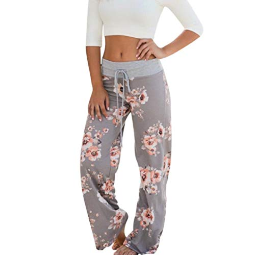 Maleya Bequeme Stretch-Loungehose mit Blumendruck für Damen mit Kordelzug Palazzo mit weitem Bein Stripe Loose Haren Pants Cropped Sommer Lose Capri Baggy Harem Pants Pirat Shorts Lässig Old Navy Stretch Kleid