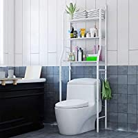 Toilet Storage Rack,3 Tier Over Commode Shelving,No Drilling,Easy to Assemble,High Capacity,Very Sturdy Space-Saving Shelf (white)