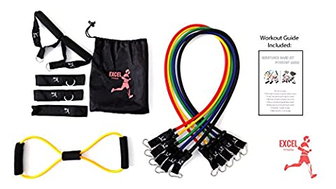 Excel Fitness Resistance Bands, Stretch Bands for Great Workout at Home or Gym, Comes with 5 Highly durable stretch Bands,1 8-Shape Band, 2 Foam Handles ,2 Ankle Straps, 1 Door Anchor Carrying