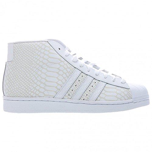 Adidas Pro Model Round Toe Leder Sneakers White/White-White