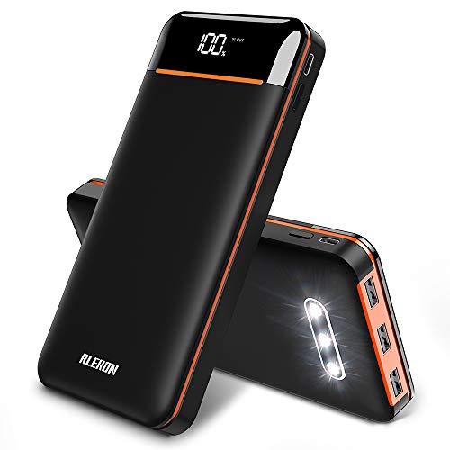 RLERON Powerbank 25000mAh Externer Akku, Hohe Kapazität Power Bank mit 3 USB-Ausgänge & 2-Eingänge, Tragbares Ladegerät für Smartphones,Tablett