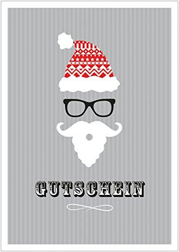 Erhältlich im 1er 4er 8er Set: Lustiger Weihnachts Gutschein im Hipster Retro Weihnachtsmann Nikolaus-Style Klappgrußkarte Weihnachtskarte mit Mütze, Brille, Bart in Grau. (Mit Umschlag) (8)