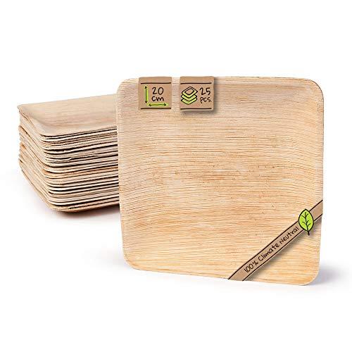 kaufdichgrün 25x Einwegteller aus Palmblatt | 20x20cm, quadratisch | 100% biologisch abbaubar, kompostierbar | individuelle, dekorative Maserung | stabil und robust | für BBQ, Outdoor und Party