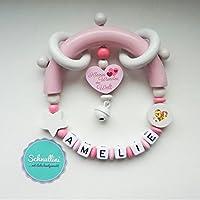 Greifling mit Namen Herz Kleines Wunder der Welt Gravur Geschenk Taufe Geburt individuell Stern | Mädchen rosa Namenskette