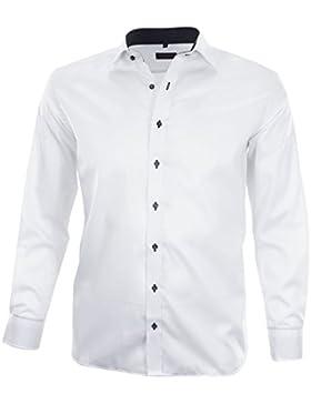 ETERNA Herren Langarm Hemd Modern Fit weiß mit Patch 8140.00.X167