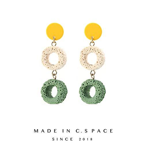 ASWEFV Geometrische Farbe Persönlichkeit Ohrringe 925 Silber Spirale Ohrclip Neue Flut Schlug Farbe Wilde Ohrringe Grün S925 Silber Paar