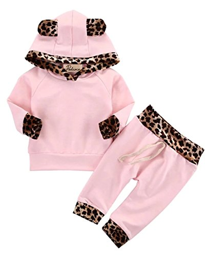 Kfnire Bebé Niñas Invierno Otoño Rosa Leopard Edge
