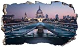 Chicbanners London St Pauls River Bridge 3D Magic Window Sticker Mural leviers Smash Autocollant Poster Art Mural Taille...