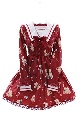 Kawaii-Story JSK-11 Gr. S Rot Teddy Bear Bär Cute Pastel Gothic Lolita lang-arm Kleid Dress Cosplay Kostüm (Cute Harajuku Kostüm)