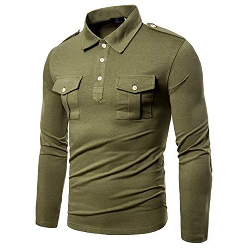 Military Style New Herbst europäischen und amerikanischen Langarm-Shirt Männer T-Shirt Army Green S