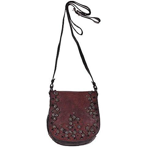 Campomaggi C4077 VL borsa Bella Di Notte borchie Borse a tracolla in pelle di alta qualità Vinaccia Bordeaux Red - Cuore Canvas Tote