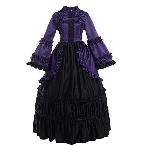 GRACEART Damen Langarm Renaissance Mittelalter Kleid Gothic Viktorianischen Königin Kleid Kostüm (2XL, ()