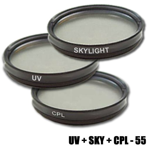 PRO Digital Slim DynaSun C-PL CPL 55mm Zirkular Polfilter Pol-Filter +UV Filter 55 +Skylight Sky