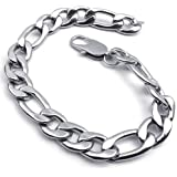 KONOV Bijoux Bracelet Homme - Figaro - Acier Inoxydable - Fantaisie - pour Homme - Chaîne de Main - Couleur Argent - Avec Sac Cadeau
