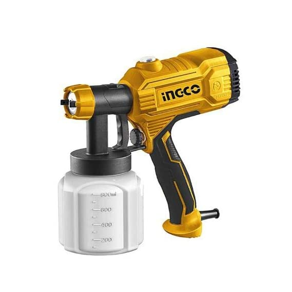 INGCO POWERTOOLS & HANDTOOLS Metal 350W Hvlp Floor Based Electric Paint Spray Gun (Orange) with 1 x Viscosity Measuring Cup 1 x Nozzle Cleaning Needle