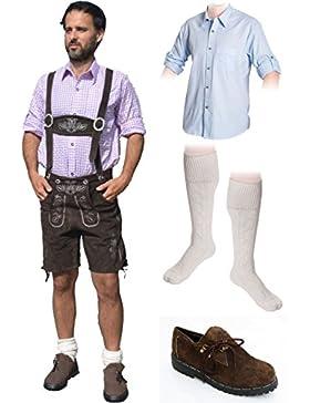Herren Trachten Set C 5-teilig Trachten Lederhose * kurz * DUNKELBRAUN 46-60 Trachtenhemd Schuhe Socken Oktoberfest