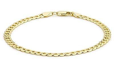 "Carissima 9ct Yellow Gold Flat Diamond Cut Curb Bracelet 20cm/8"""