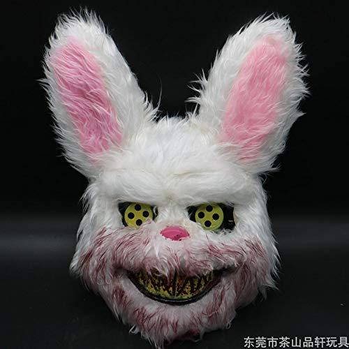 baoqsure Kaninchenmaske Prank Evil Bloody Rabbit Scary Mask PVC Plush Spielzeug Horror Killer Anonyme Weiß