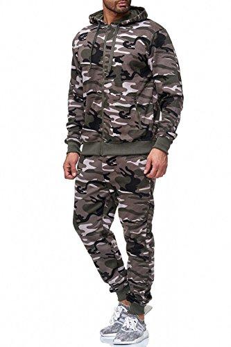 Tuta da uomo Camouflage Sport Two Piece Set H2024 Nero-Khaki