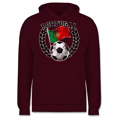 EM 2016 - Frankreich - Portugal Flagge & Fußball Vintage - Männer Premium Kapuzenpullover / Hoodie Burgundrot