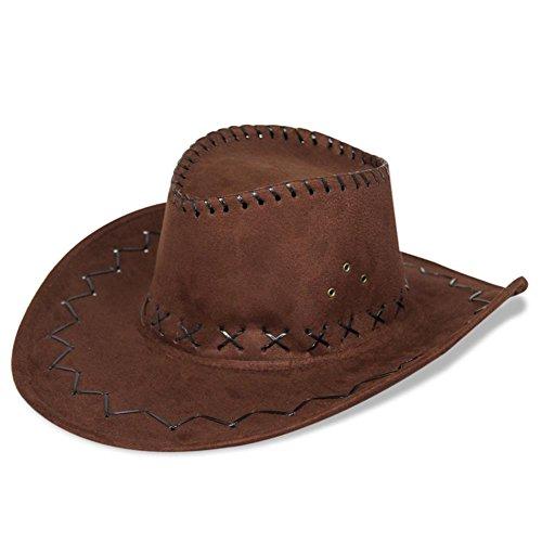 HC-Handel 910508 Cowboyhut Westernhut Western Wildlederoptik schwarz, braun oder hellbraun (Tin Mann Kostüm Hut)
