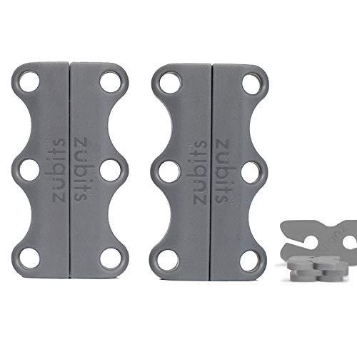 Zubits® - Magnetische Schuhbinder/Magnetverschlüsse für Schuhe - Größe #3 Performance/Große Erwachsene in grau