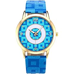 JSDDE Fahsion Gold Case Arabic Numerals Lattice Dial Blue PU Leather Band Quartz Watch