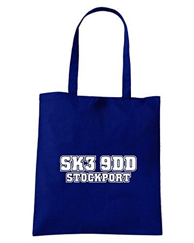 T-Shirtshock - Borsa Shopping WC1101 stockport-postcode-tshirt design Blu Navy