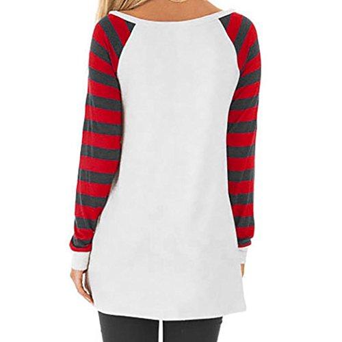 Donna Rcool Moda Stampa in chiffon striscia Retro Camicetta Maglietta Maglia pullover manica lunga Tops T shirt Camicia sottile Rosso