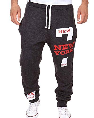 Pantaloni da jogging da Uomo pantaloni sportivi Fitness Jogger Fit pantaloni Grigio scuro