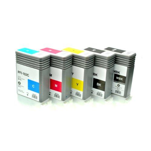 5 Tintenpatronen PFI-102 für Canon Imageprograf IPF 500 5100 600 6000 605 610 650 655 700 710 750 755 760 765 S L MFP M 40-0894B001-0898B001 - je 130 ml (605l-serie)