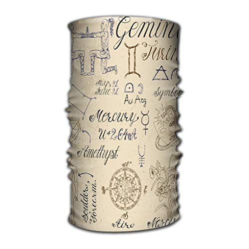 venda Multi Function Magic Scarf Constructed with High Performance Rotating Illusion Tube Mask set symbols zodiac sign gemini twins collection hand drawn astrological line art engraved horoscope
