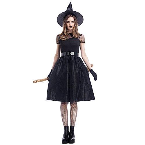 een Schwarzes Garn Hexenkleid Zauberin Partybekleidung Aufführungkostüm Cosplay (Lustig Paar Kostüme Für Halloween)
