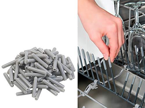 Sichler Haushaltsgeräte Küchenzubehör: 100er-Pack Universal-Schutzkappen für Spülmaschinen-Körbe, grau (Geschirrspüler-Geschirrkorbkappe)