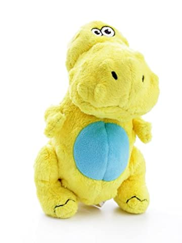 goDog Dinos T-Rex with Chew Guard Technology Tough Plush Dog Toy, Small, Yellow