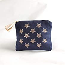 H-M-STUDIO Cosmetic Bags, Canvas Embroidered Star Tassels and Handbags Wrapped in 13X11Cm.