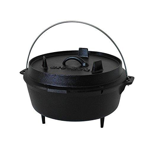 ToCis Big BBQ Premium DO 4.5 Dutch-Oven aus Gusseisen | Fertig eingebrannter 10er Koch-Topf aus Gusseisen | mit Deckelheber und Deckelständer | mit Füßen