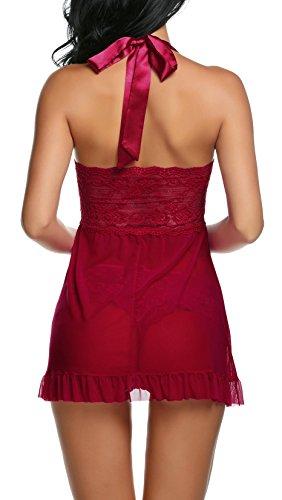 Avidlove Damen Negligee Neckholder Reizwäsche mit Vorderverschluss Nachthemd aus Spitzen und Netz Nachtkleid Dessous Nachtwäsche Dunkelrot3873