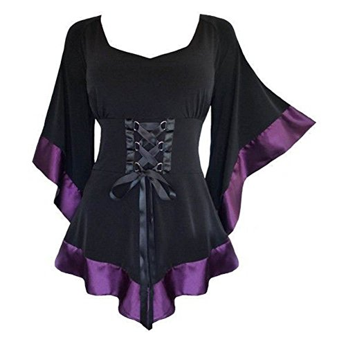 Juleya Frauen Bluse Gothic Oberteil - Vintage Tunika Renaissance Korsett Tops Elegant Bluse mit V Ausschnitt Lange Ärmel Hemd Spitze Bluse Damen Tunika Kleid von (Renaissance Kleidung)