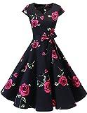 Dresstells Vintage 50er Swing Party kleider Cap Sleeves Rockabilly Retro Hepburn Cocktailkleider Red Flower 3XL