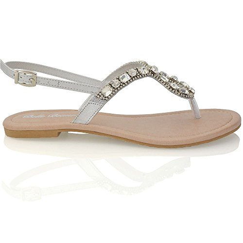 Essex Glam Sandalo Donna Vacanza Finto Diamante con Cinturino Posteriore Effetto Scintillante Bianco