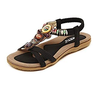 Lenfesh Women's Summer Fashion Sweet Beaded Clip Toe Flats Bohemian Herringbone Sandals (39, Black)