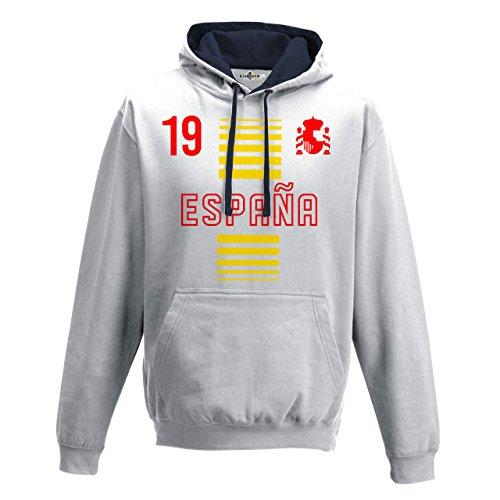Felpa Cappuccio Bicolore Uomo Nazionale Sportiva Espana Spagna 19 Calcio Scudo 2 KiarenzaFD Streetwear Arctic White-French Navy