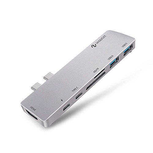 HOOZER USB Typ C Multiport Hub/Adapter 7 in 1 mit 2 USB 3.0 Ports, 1 USB Typ C Port, 1 Thunderbolt 3 Port, 1 HDMI Port, SD/TF Karte, PD Power für MacBook Pro 2016/2017