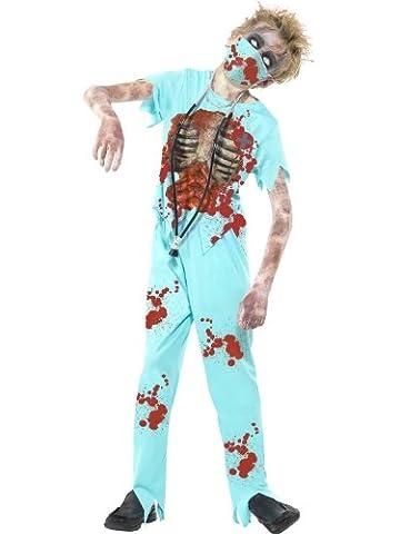 Smiffys, Kinder Jungen Zombie Chirurg Kostüm, Hose, Bedrucktes Oberteil, Maske und Stethoskop, Größe: T (Alter 12+ Jahre), (Amazon Halloween-kostüme Für Kinder)
