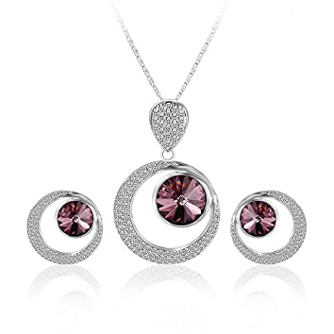 XUPING Platinum Plated Crystal Pendant Stud Earrings Forever Love in Life Jewellery Sets - Crystals from Swarovski