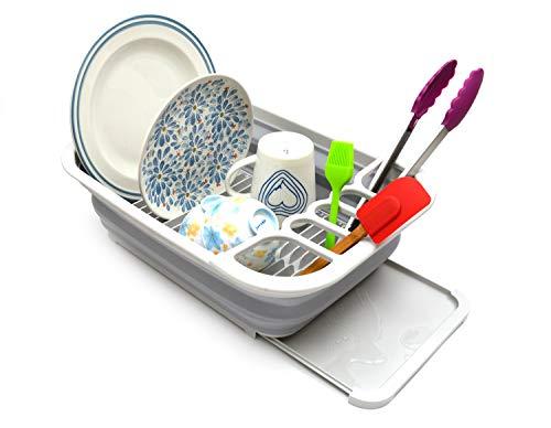 Sammart - Escurreplatos plegable con escurridor, juego de escurreplatos plegable, organizador de vajilla portátil, ahorro de espacio
