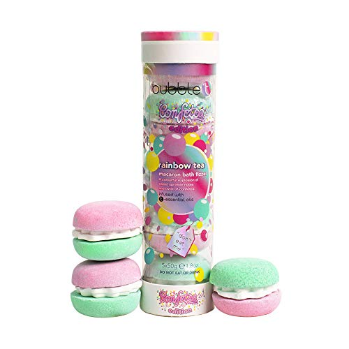Bubble T Cosmetics Rainbow Tea Macaron Bath Bomb Stack (5 x 50g)
