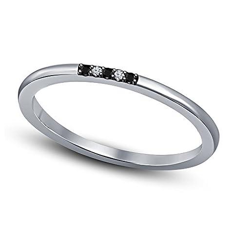 Vorra Fashion Ladies Black & White Round Cut CZ White